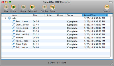 interface of Tune4Mac M4A to MP3 Convert