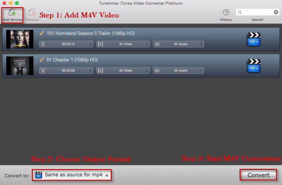 Add iTunes M4V videos to Tune4mac M4V Converter