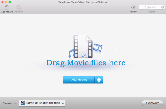 Tune4mac itunes video converte pltinum interface