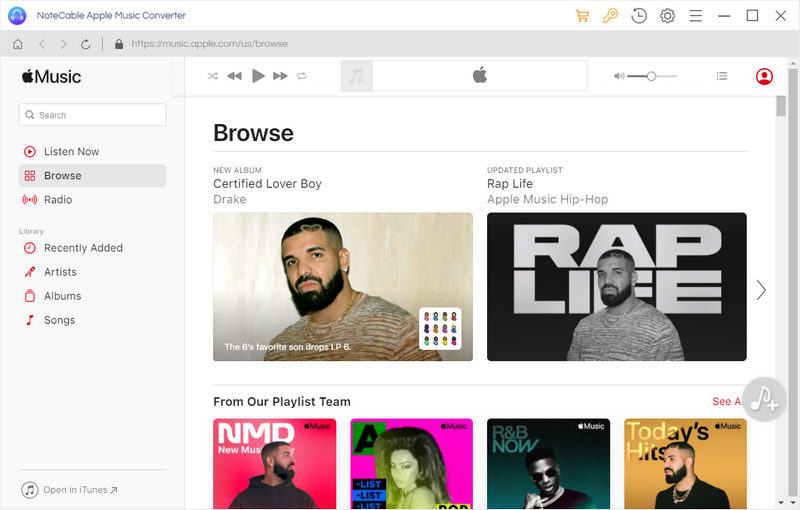 Interface of Apple Music Converter for Windows