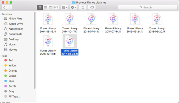 Find old version iTunes Library