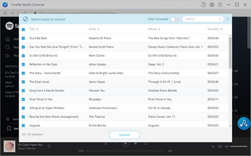 All the added music will list on the main window