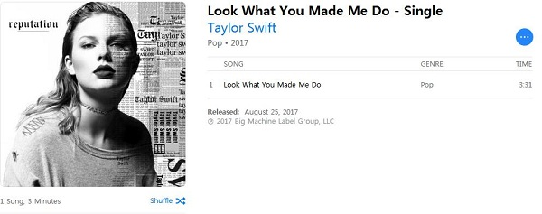 Taylor Swift new song 'Look What You Made Me Do'
